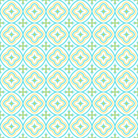 Oriental seamless pattern in yellow, blue and white colors. Eastern ornament. Vector abstract background. Illustration