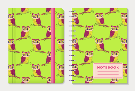 moleskin: Notebook cover design. Notepad with elastic band and spiral pad. Cute colorful collection with hand drawn owls. Illustration