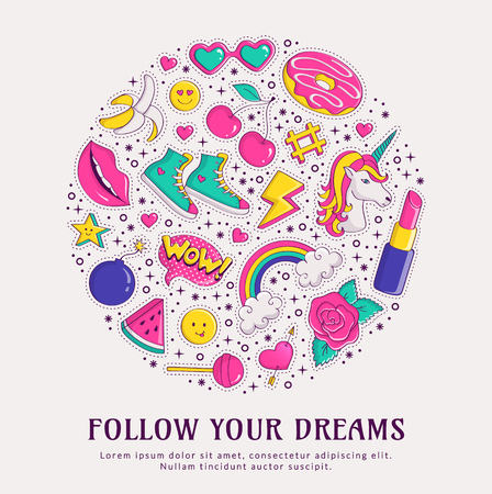 girlish: Follow your dreams. Fashion banner with colorful patch badges isolated on white background and space for text. Illustration