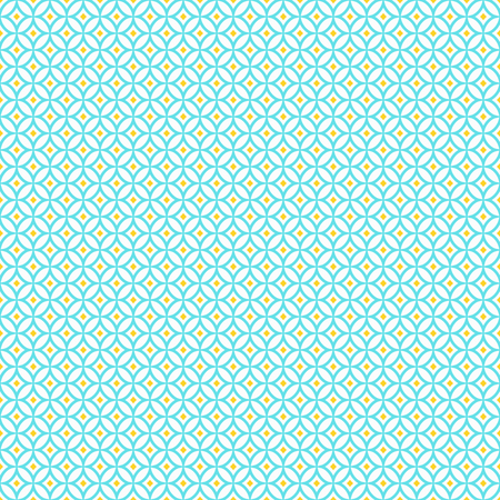 Oriental seamless pattern in white, yellow and blue colors. Eastern geometric ornament. Vector abstract background. Illustration