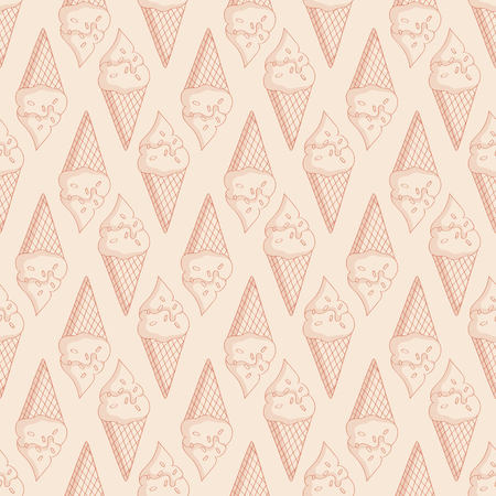 pale cream: Pale seamless pattern with ice cream in waffle cones. Monochrome light beige background. Vector illustration.