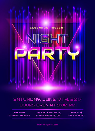 colorful flyer for night party invitation template with abstract