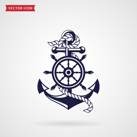 Anchor with a rope and a steering wheel. Icon isolated on white background. Sea travel and nautical themes. Vector design element. Vettoriali
