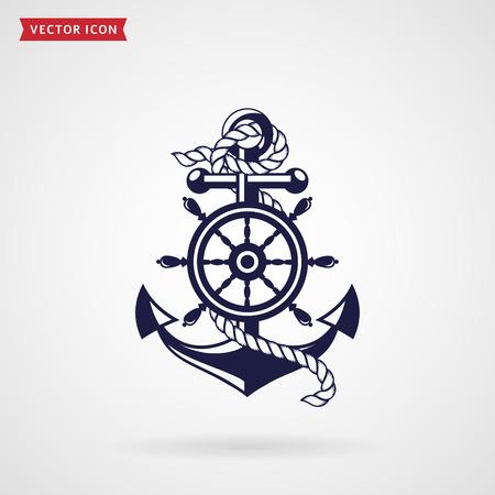 Anker met een touw en een stuurwiel. Pictogram geïsoleerd op een witte achtergrond. Zee reizen en nautische thema's. Vector ontwerpelement.