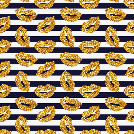 Striped background with gold glittering lips. Seamless pattern. Vector illustration.  イラスト・ベクター素材