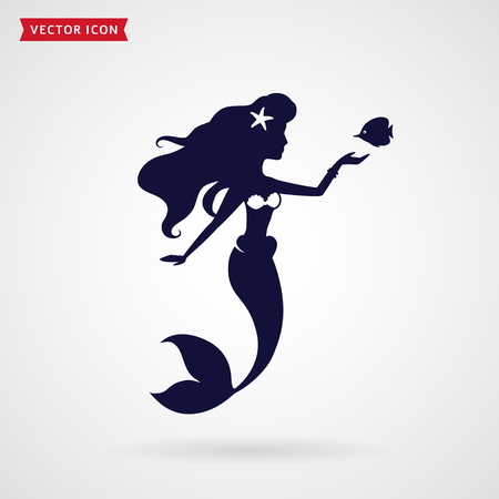 Mermaid with fish. Vector design element on white background.