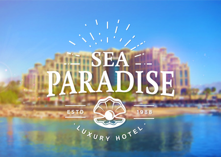 Sea Paradise Hotel logo with seashell. Elegant typography badge on blurred background. Vector template. Illustration