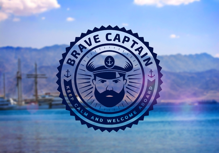 Brave captain logo on blurred seascape background. Vector emblem for cruise ship, sea travel agency or other marine and nautical companies. Illustration
