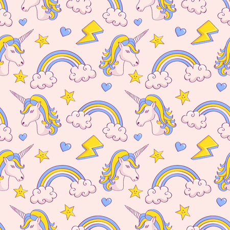 Dreamy pattern with unicorns and rainbows. Cute seamless background in white, blue and yellow colors. Vector illustration. Illustration