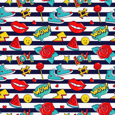 90s: Striped seamless pattern with colorful stickers. Fashion background in white, red, blue and yellow colors. Vector trendy illustration in 80s-90s comic style. Illustration