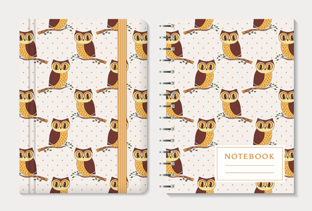 moleskin: Notebook cover design. Notepad with elastic band and spiral pad. Cute collection with hand drawn owls and polka dot background. Vector set.