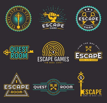 퀘스트 룸 로고 템플릿 집합입니다. 현실적인 탈출 게임 디자인을위한 벡터 배지. 검정색 배경에 고립 엠 블 럼의 컬렉션입니다.