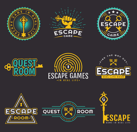 Set of quest room logos templates. Vector badges for real-life escape game design. Collection of emblems isolated on a black background.