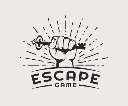 脱出ゲームのロゴ。ベクトル バッジは、白い背景で隔離。  イラスト・ベクター素材