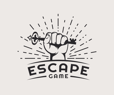 Ucieczka z logo gry. Vector odznaki wyizolowanych na bia? Ym tle. Logo
