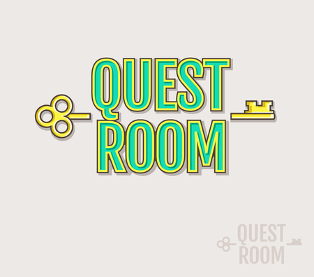 quest: Quest Room logo. Vector badge for escape game design. Colored and silhouette variants isolated on a white background. Illustration
