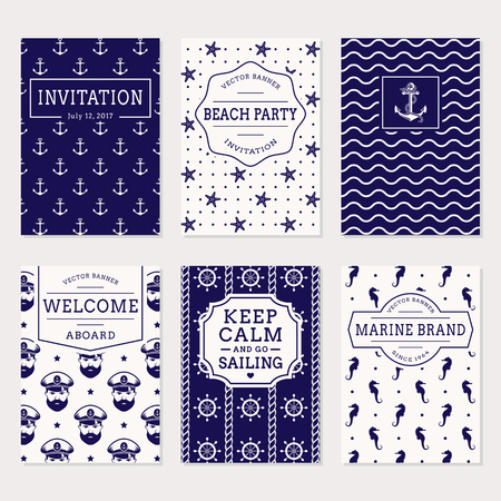 Set of nautical and marine banners, invitations and flyers. Elegant card and labels templates in white and navy blue colors. Sea theme. Vector collection.