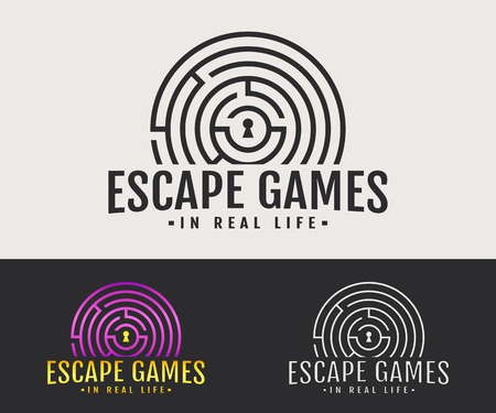 Escape room logo. Vector badge for quest game in real life. White, black and colored variants. Фото со стока - 81376999