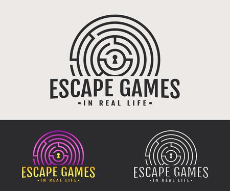 Logo de la salle d'évasion. Insigne de vecteur pour jeu de quête dans la vraie vie. Variantes blanches, noires et colorées.