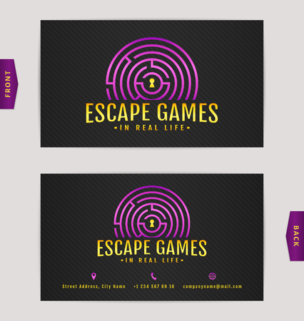 Business card design with labyrinth. Vector template for escape games and quest rooms. Illustration