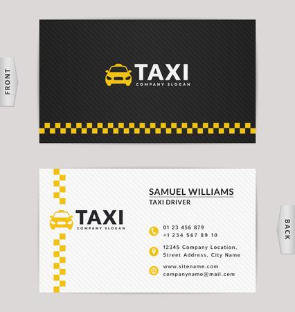 Conception de cartes de visite en couleurs noires, blanches et jaunes. Modèle vectoriel pour la compagnie de taxi et le chauffeur de taxi.