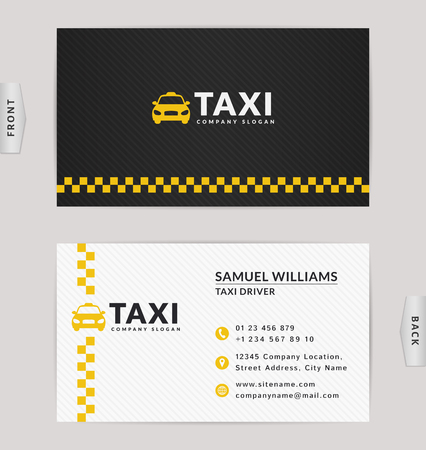 Business card design in black, white and yellow colors. Vector template for taxi company and taxi driver. Vettoriali