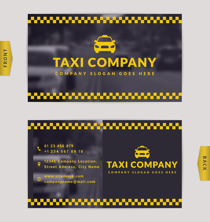 Business card design with blurred background. Stylish vector template for taxi company.