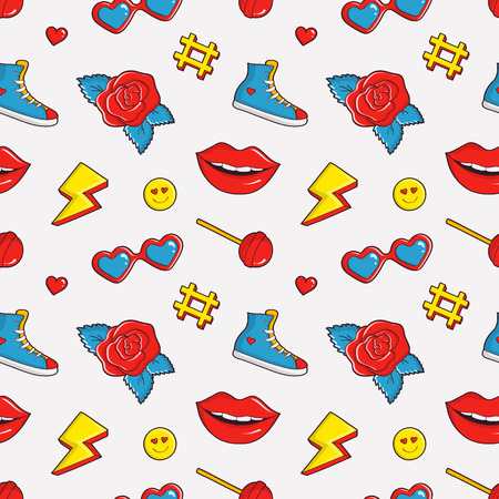 Cute seamless pattern with colorful patch badges. Fashion background in white, black, red, blue and yellow colors. Vector trendy illustration in 80s-90s comic style.