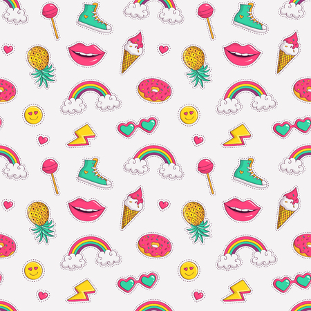 Cute seamless pattern with colorful patch badges. Fashion background in white, pink, blue-green and yellow colors. Vector trendy illustration in 80s-90s comic style.