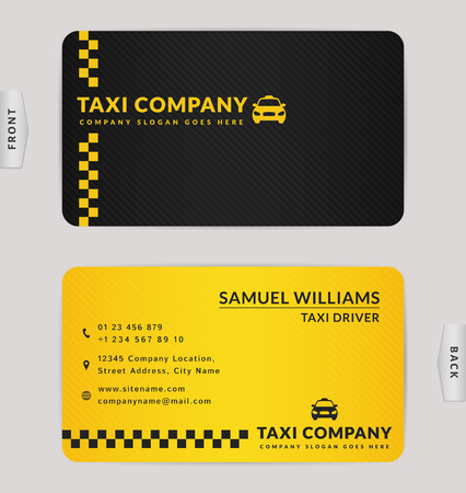 Business card design in black and yellow colors. Stylish vector template for taxi company.