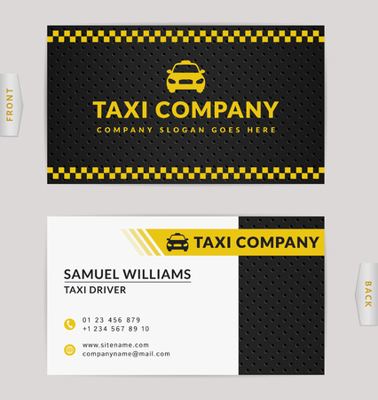 Business card design in black, white and yellow colors. Vector template for taxi company and taxi driver. Illustration