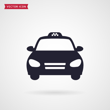 Taxi car. Vector icon on white background. Illustration