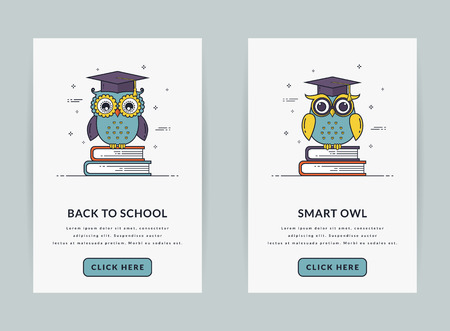 couching: Mobile app onboarding screen templates for education and school application. Modern user interface in line style. UI concept with owls sitting on books. GUI design for smartphone or web site banners.