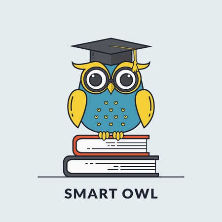 Education banner with smart owl sitting on books. Back to school, graduation or learning themes. Vector illustration. Flat line design.