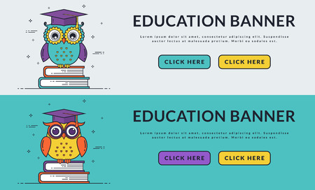 website header: Education web banners with smart owls sitting on books. Back to school, graduation or learning themes. Vector set. Flat line design with space for text and two buttons.
