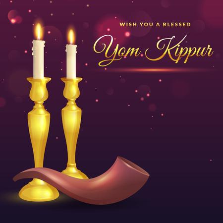 Yom Kippur greeting card with candles and shofar. Jewish holiday background. Vector illustration.