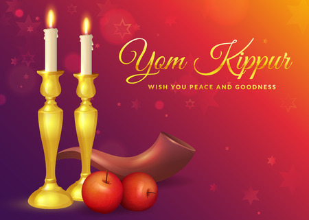 Yom Kippur greeting card with candles, apples and shofar. Jewish holiday background. Vector illustration.