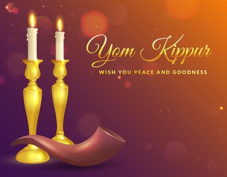 Kartkę z życzeniami Jom Kippur ze świecami i shofar. Tło żydowskiego święta. Ilustracji wektorowych. Ilustracje wektorowe