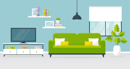 Vector banner with modern interior of the living room. Design of a cozy room with sofa, TV stand, ceiling hanging light, window and decor accessories. Vector illustration.