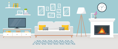 Modern interior of the living room. Vector banner. Design of a cozy room with sofa, TV stand, fireplace and decor accessories.