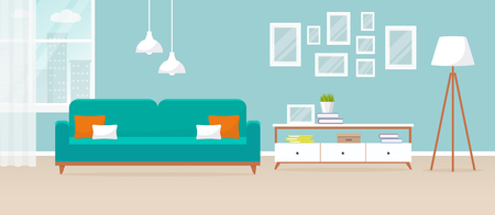 Interior of the living room. Vector banner. Design of a cozy room with sofa, TV stand, window and decor accessories.