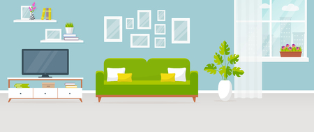 plant stand: Interior of the living room. Vector banner. Design of a cozy room with sofa, TV stand, window and decor accessories.