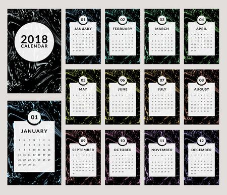 Calendar for the Year 2018. Vector template with trendy and stylish marbling background. Set of 12 monthly pages and cover.
