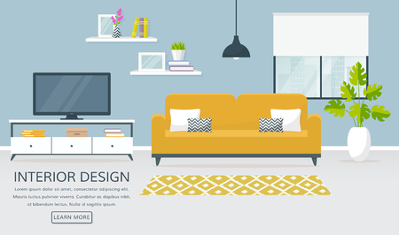 Interior of the living room. Vector banner with place for text. Design of a cozy room with sofa, TV stand, window and decor accessories.