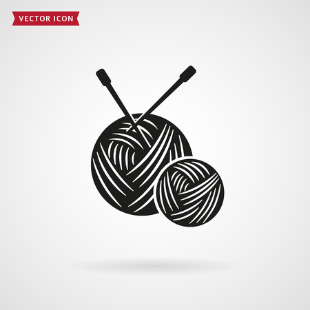 Yarn balls with knitting needles icon. Needlework and handmade concept. Vector symbol isolated on white background.