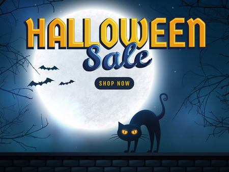Halloween sale banner. Background with full moon, scary trees and evil cat. Spooky night. Advertising template for holiday discount. Vector illustration.