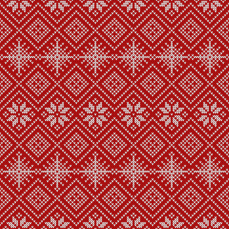 45b65cbf6552 Knitted seamless pattern with snowflakes and traditional scandinavian  ornament. Red and white sweater background for