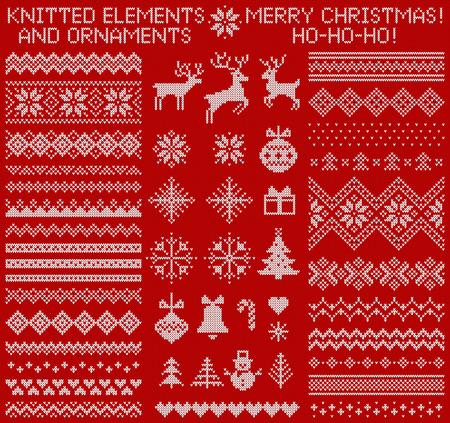 Elementos de punto y bordes para navidad, año nuevo o diseño de invierno. Suéter adornos para patrón escandinavo. Ilustracion vectorial