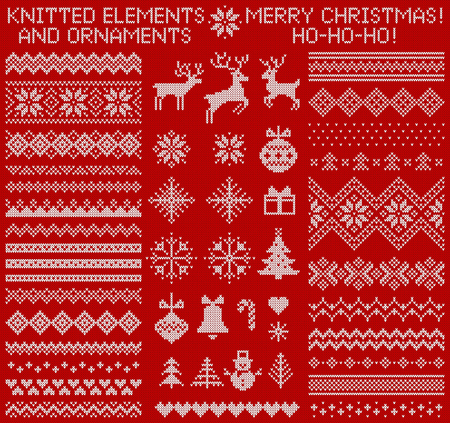 Knitted elements and borders for Christmas, New Year or winter design. Sweater ornaments for scandinavian pattern. Vector illustration.