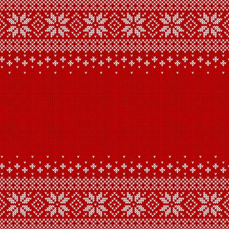 Fundo sem costura de malha com copyspace. Padrão de camisola vermelha e branca para o Natal ou inverno design. Ornamento escandinavo tradicional com lugar para texto. Ilustração vetorial